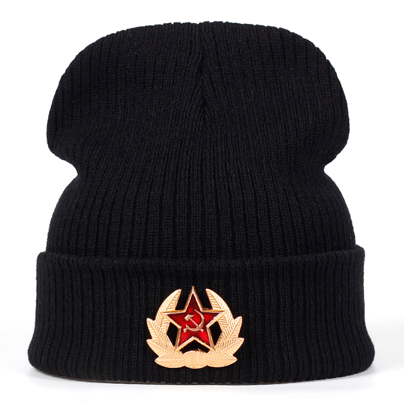 2018 New Winter Hat Brand Russian National Emblem Knitted Beanie Hats For Men Women Skullies Embroidery Acrylic Beanies Boo Cap