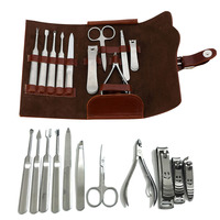 11 Pz Nail Care Tools Kit Con PU Bag In acciaio inox Pedicure Scissor Pinze Cutter Clipper File Earpick Set Manicure H7JP
