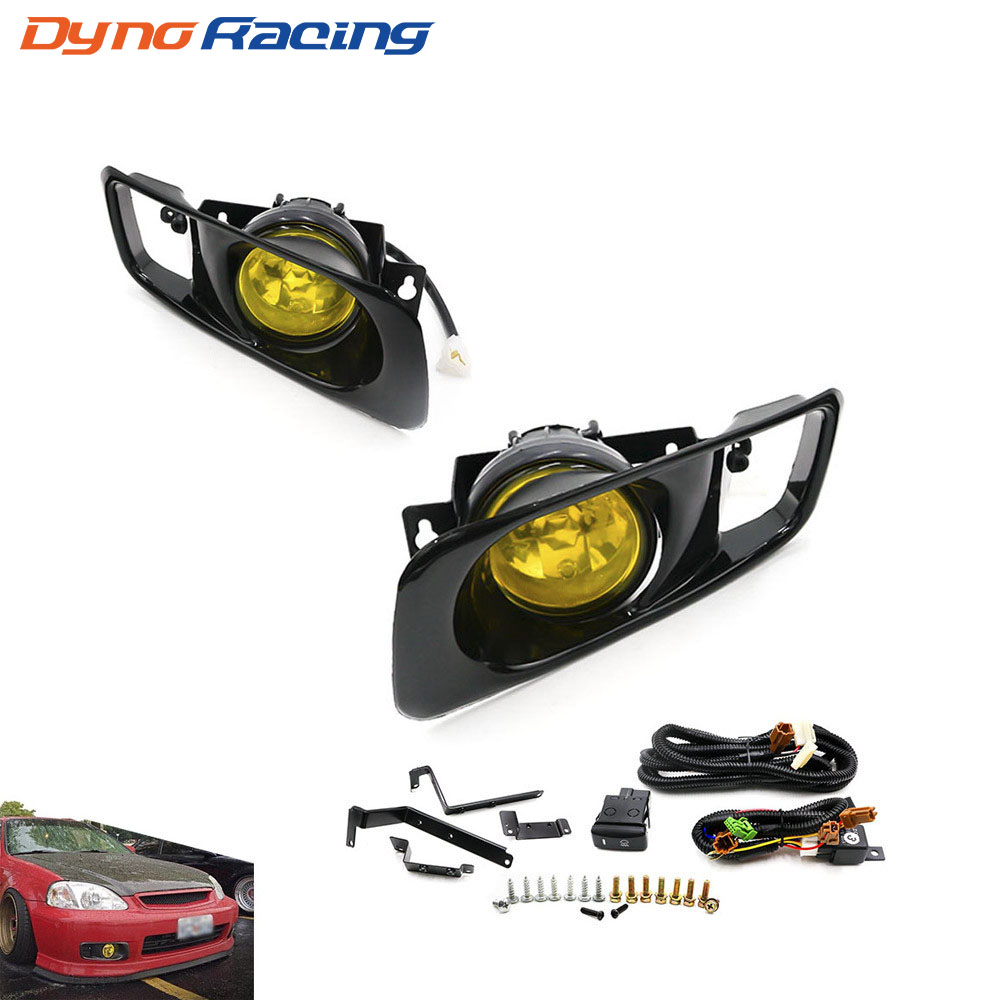 Yellow /Clear Fog Light Lamp Halogen Fit 99-00 FOR HONDA CIVIC 2/3/4 Dr EK EM JDM Kit EX DX LX SI SiR HB HX YC100479