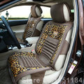 Fashion Gold Leopard Print Universal Car Seat Cushion PU Leather Velvet Fabric 10pcs Set - Brown