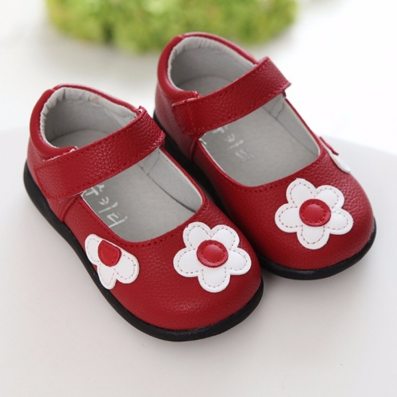 1 2 3 4 5 6 Years Flower Toddler Little Baby Girls Red Black Spring PU Leather Princess Dress For Kids Girls Dress Shoes New