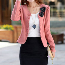Blazer Feminino Manga Longa 2017 New Autumn Cute Flowers Women Blazers and Jackets Slim Sweet Ladies Jaqueta Feminina Plus Size