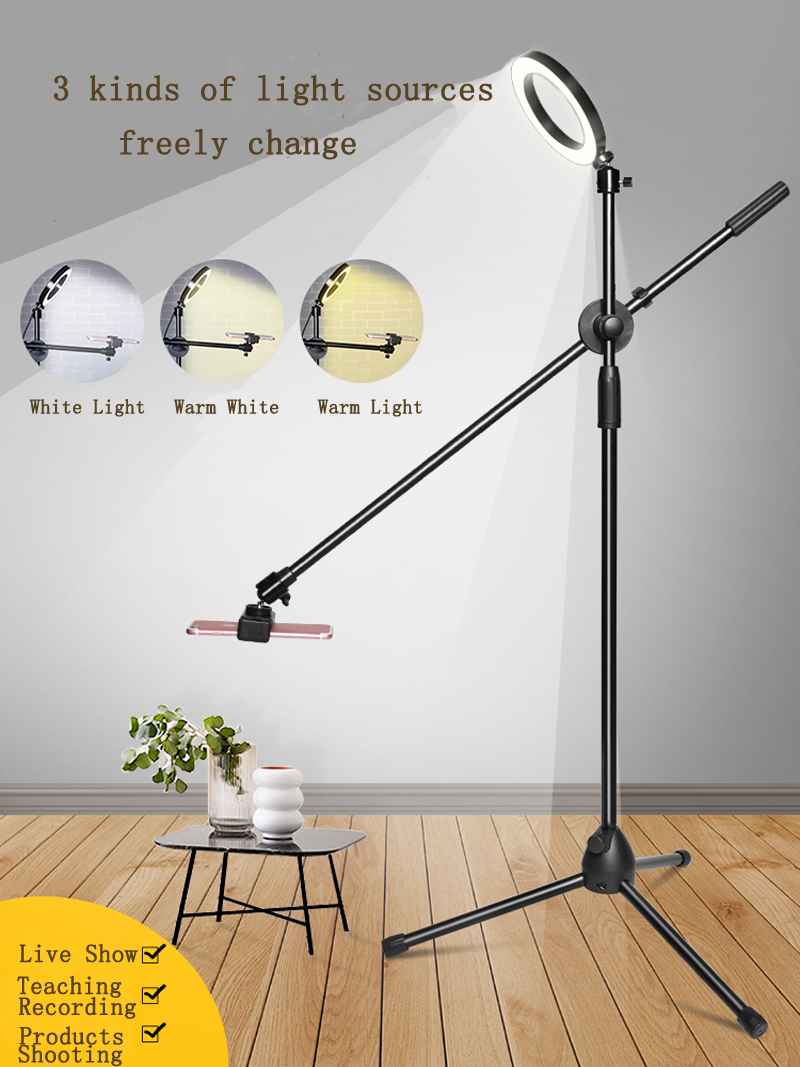 Dimmable Beauty LED Fill Light Ring Lamp+Adjustable Phone Photography Shooting Bracket Stand+Boom Arm Photo Video Studio Kits