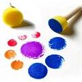 Free shipping 4pcs/set Paint Brush Wooden Handle Seal Sponge Brush Children's Painting Tool Graffiti Kids DIY Doodle Drawing Toy