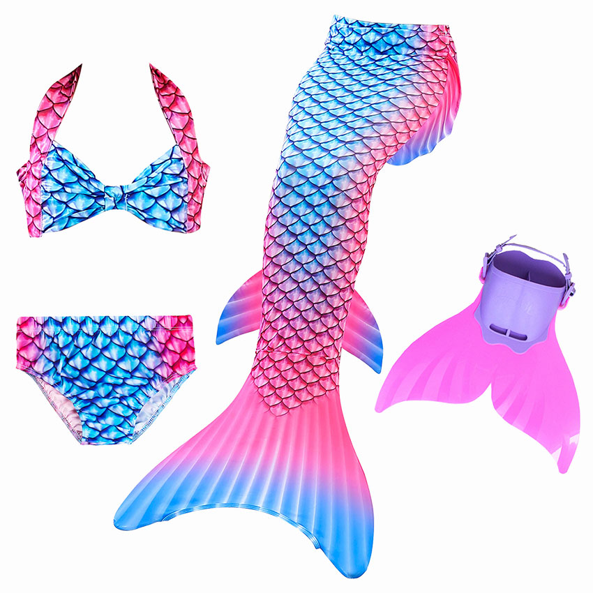 Girls Ariel Swimming Mermaid Tails For Swimming Costume Kids Children Little Mermaid Swimsuit Swimwear Can Add MonoFin Cosplay