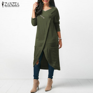 Image 3 - ZANZEA 2020 Asymmetrical Hoodies Dress Womens Sweatshirts Autumn Casual Long Sleeve Pullovers Zipper Midi Vestidos Plus Size