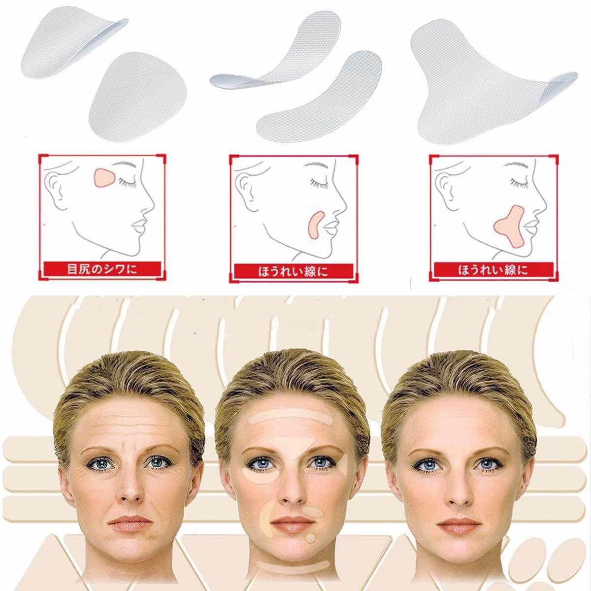 Heißer Verkauf 12/24/27 Pcs Dünne Gesicht Aufkleber Gesichts Anti-Falten Patches Lächeln Linie Falten Schlaffe haut Lift Up Band Werkzeuge