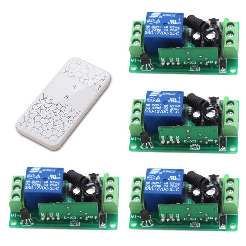 New DC9V 12V 24V 1CH Receiver Remote Control Garage Door RF Wireless Remote Control Switch System 1X Transmitter + 4 X Receiver 12v 1ch wireless remote control switch system receiver