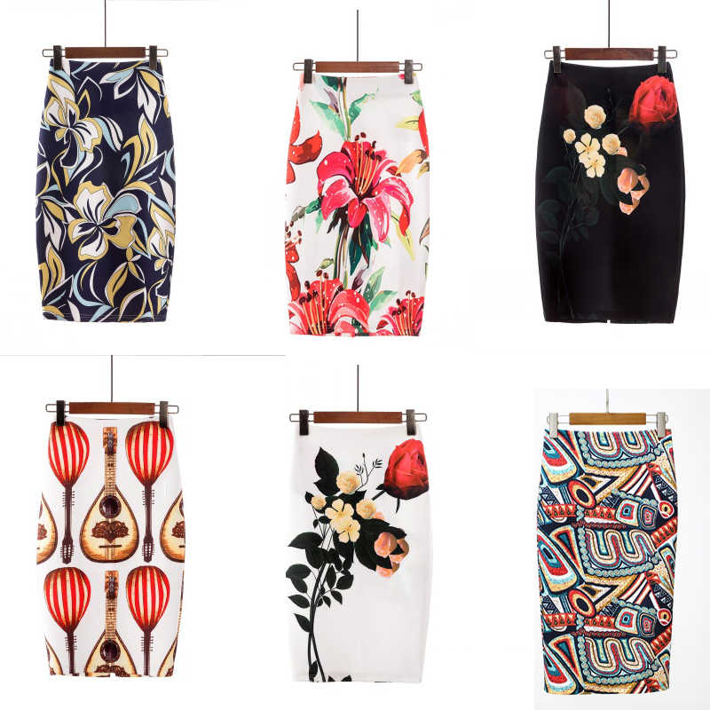 New Style Lady Skirt Long Floral Printed Boho Skirts Womens Elegant Casual High Waist Knee Length Work Short Skirt Plus Size 2XL
