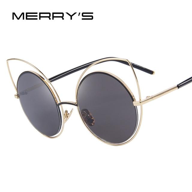 09b28cd369 MERRY'S Mujeres Ahueca Hacia Fuera el Ojo de Gato gafas de Sol de Metal  Marco Redondo