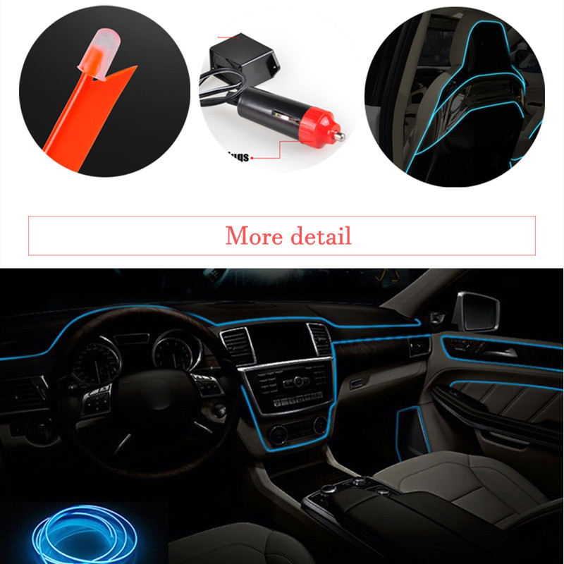 Car Interior Lamp Neon Strip led El Cold Light sticker For BMW E46 E39 E90 E60 E36 F30 F10 E34 X5 E53 E30 F20 E92 E87 M3 M4 M5 in Car Stickers from Automobiles Motorcycles