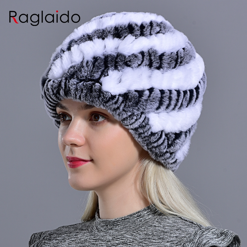 Genuine Rex Rabbit Fur Hat Snow Cap Winter Hats For Women Girls Real Fur Knitting Skullies Beanies Natural Fluffy Hat LQ11169