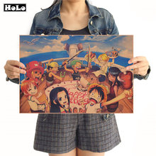 Una pieza de animé estilo L, cartel para fiesta de cumpleaños, calcomanías, decoración, Papel Kraft clásico, póster, pegatina de pared FND 42x30cm