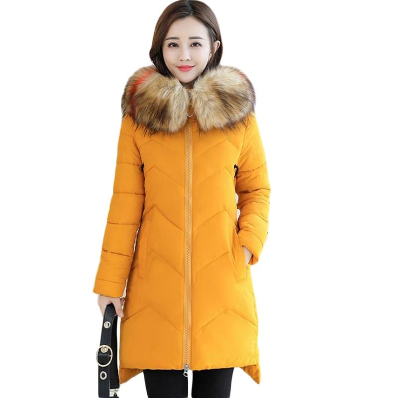 2018 Cuello de piel Talla grande 7XL mujeres invierno abrigo con capucha abrigo femenino Parka señoras caliente Chaqueta larga delgada Jaqueta femenina CM739-in Parkas from Ropa de mujer    1