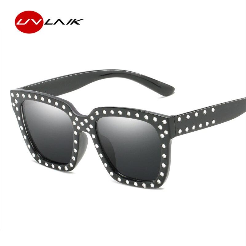 UVLAIK Women Sunglasses Oversized Sun Glasses Luxurious Rhinestone Sunglass Big Frame AC Lens Glasses Ladies Eyewears