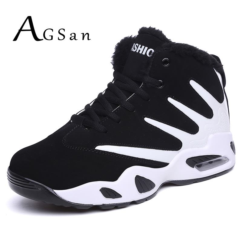 AGSan men boots winter snow boots high top mens fur plush casual shoes lace up ankle boots black suede leather fashion sneakers men suede genuine leather boots men vintage ankle boot shoes lace up casual spring autumn mens shoes 2017 new fashion