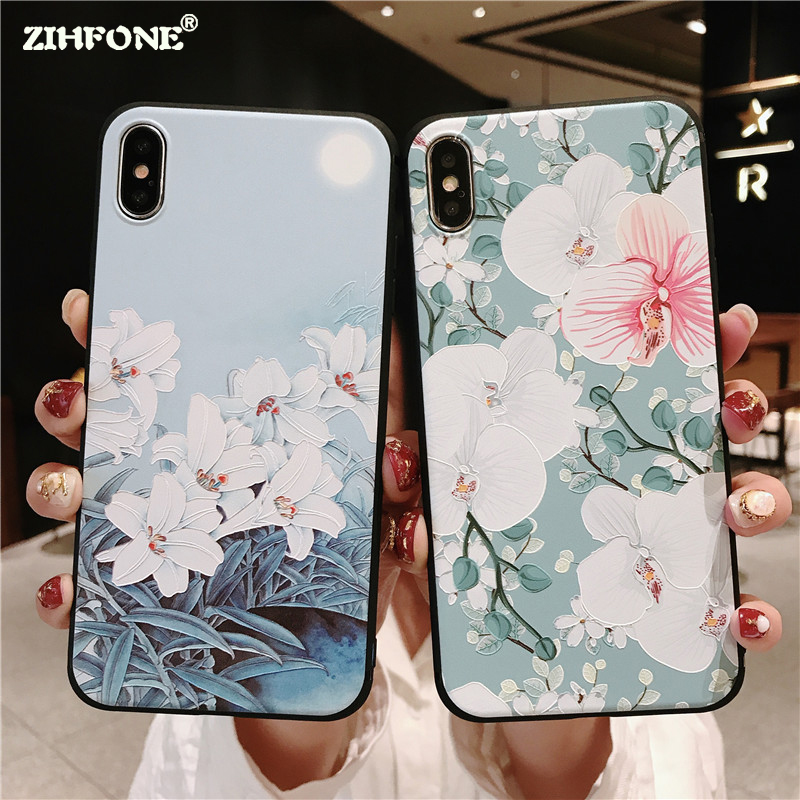 Phone Case Coque Vivo X21 UD X20 X9S Plus Fashion 3D Relief Flower Patterned Soft TPU