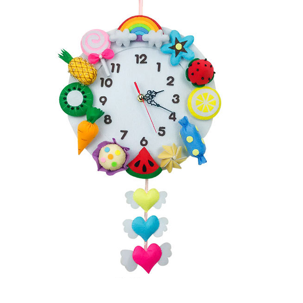 Cute DIY Wall Clock Set Craft Toys Free Cutting Felt Material Cloth Animal Style Handmade Cloth Clock Home Hanging Decoration