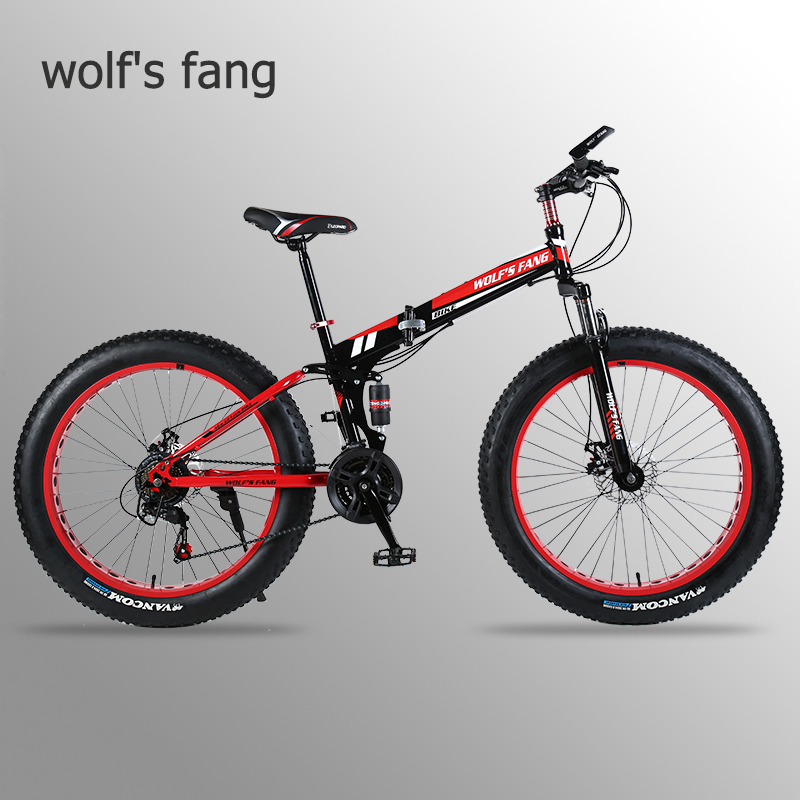 Wolf's Fang Folding Bicycle Mountain Bike 26 Inches 7/21/24 Speed 4.0 Damping Road Bike Fat Folding Bikes Mtb Snow Beach Bicycle