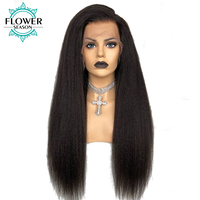Yaki Straight 5x4.5 Silk Base Pre Plucked Full Lace Human Hair Wigs With Baby Hair Remy Malaysian Hair For Women FlowerSeason