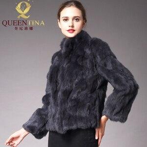 Image 4 - 2020 High Quality Real Fur Coat Fashion Genuine Rabbit Fur Overcoats Elegant Women Winter Outwear Stand Collar Rabbit Fur Jacket