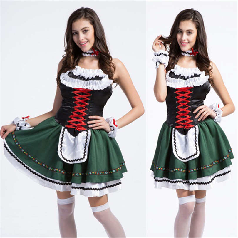 COULHUNT 2017 Sexy Girls Green German Beer Costume Oktoberfest Beer Girl Maid Wench Halloween Masquerade Bavarian Fancy Dress