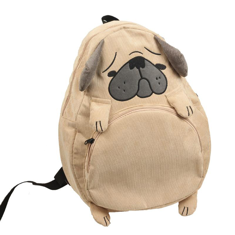 Vintage Cute Designer Dog Fox Ear Embroidery Corduroy Canvas Women Backpack School Notebook Bag Girls Rucksack