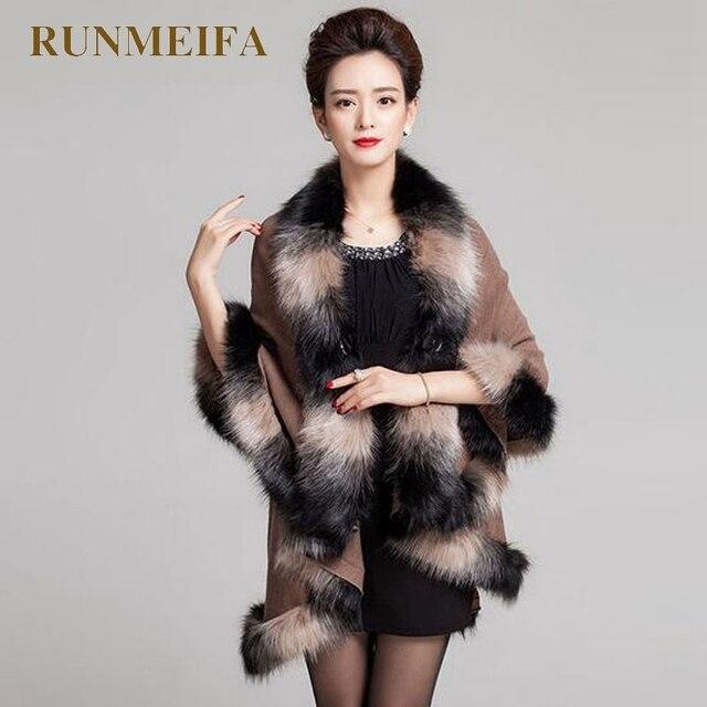 [RUNMEIFA] осень-зима Для женщин длинные кардиганы поддельные Лисий меховой воротник шаль вязаный кардиган пончо лучшие шаль для согреться