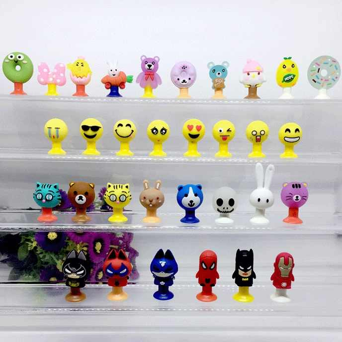 TPR Mini Sucker Cup Toy Face Expression Happy Face Dinosaur Funny Korean Animals Action Figure Pencil Topper Toys Kids Gifts
