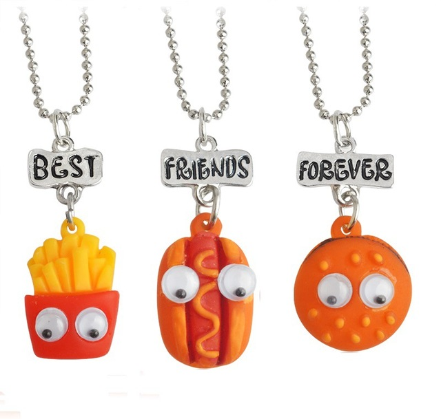 Best Friends Jewelry Resin Burger Hot Dog Active Eyes Bff Good Friend Necklace Three Pieces