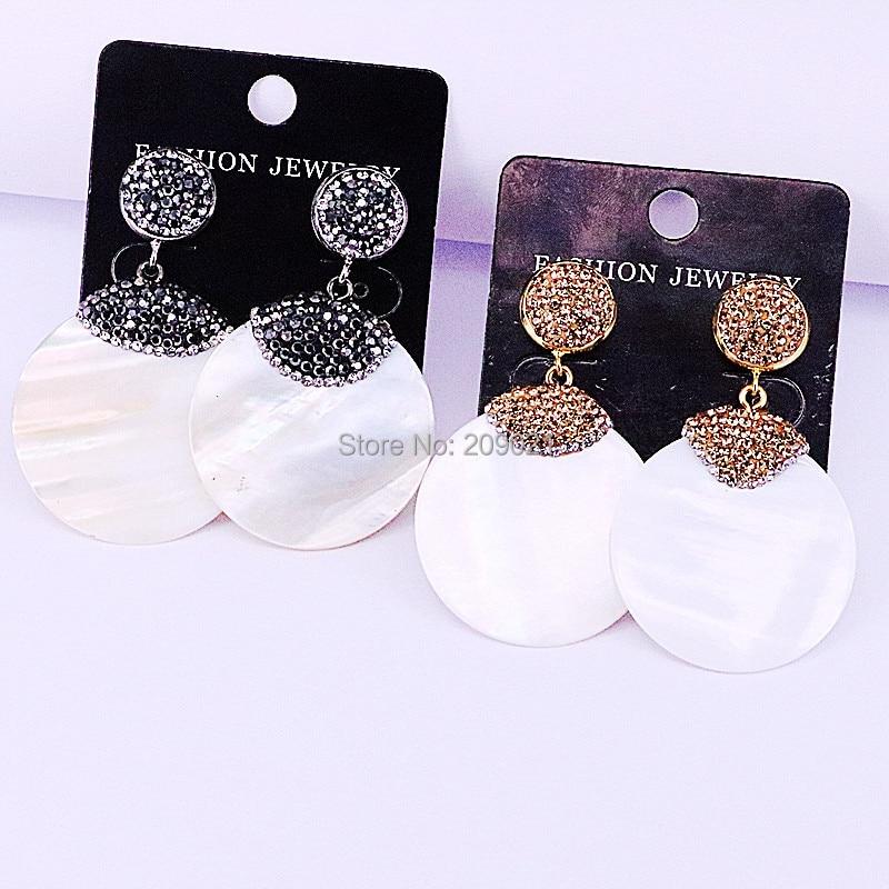New 5Pairs Paved Rhinestone Round Shape White Shell Earrings for Women Drop Dangle Earrings