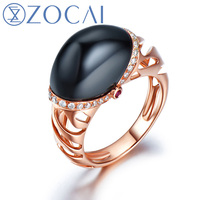 ZOCAI New Arrival ICE and FIRE Series Black Agate ring 0.17 Ct real diamond and 0.03 Ct real ruby ring 18K rose gold JBW90111T