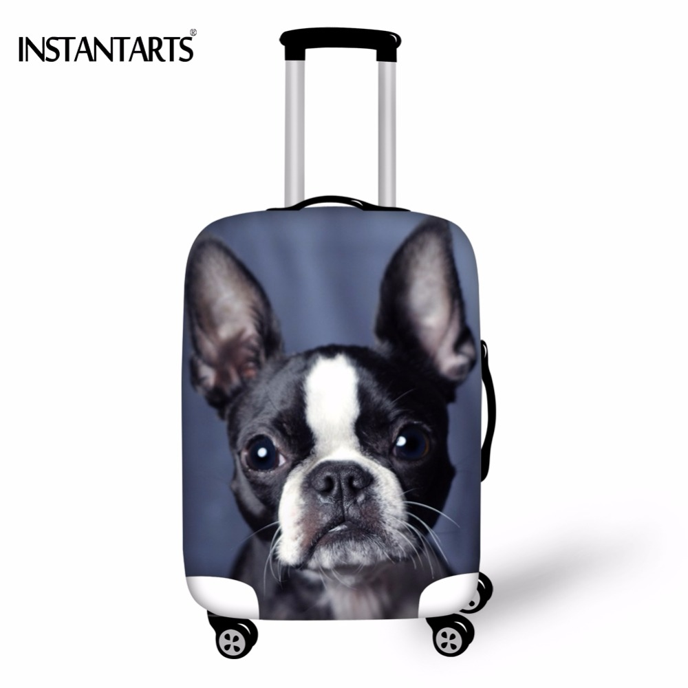 INSTANTARTS Kawaii 3D Dog Boston Terrier Printing Luggage Waterproof Covers Apply To 18-30 Inch Suitcase Elastic Dust Rain Cover