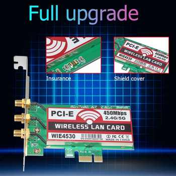 802.11 b/g/n 450Mbps Wireless WiFi PCI-Express Adapter Desktop Card for Intel 5300 Compatible Slot PCI-E X1/X4/X8/X16