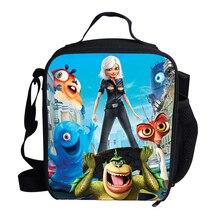 Kids Cooler Lunch Bag Monsters vs. Aliens Print Portable Thermal Food Picnic Bags for School Kids Girls Lunch Box Tote packit сумка холодильник packit lunch bag monsters 4 5 л 25x22x13 см fu krmfk