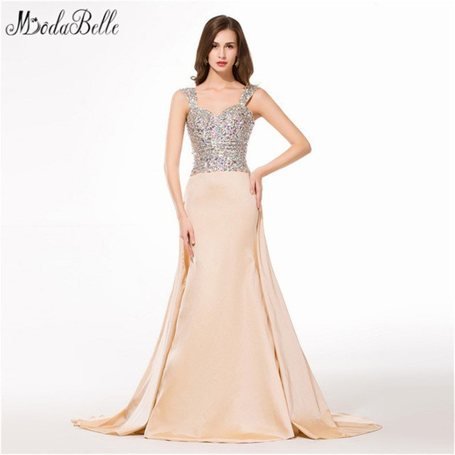 02c85f2c29f modabelle Sexy Mermaid Champagne Prom Dress With Rhinestones Beaded Sparkly  Elegant Evening Gowns Crystal Vestido Formal 2018