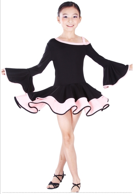 Hot Sell Kid Girl Long Flare Sleeve Oblique Latin Dance Costume 6~13T