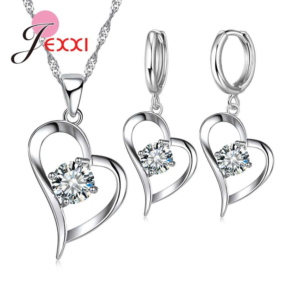 Top Quality 925 Sterling Silver Wedding Jewelry Sets Romantic for Women Love Heart Hollow Pendants Necklaces Earrings For Wedding