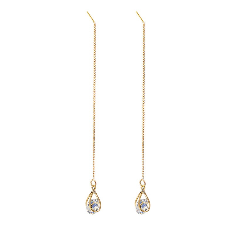 214e6c623 Hot Product Simple Style Zircon Water Drop Earring Gold Silver Alloy Chain Tassel  Long Earing Dropshipping