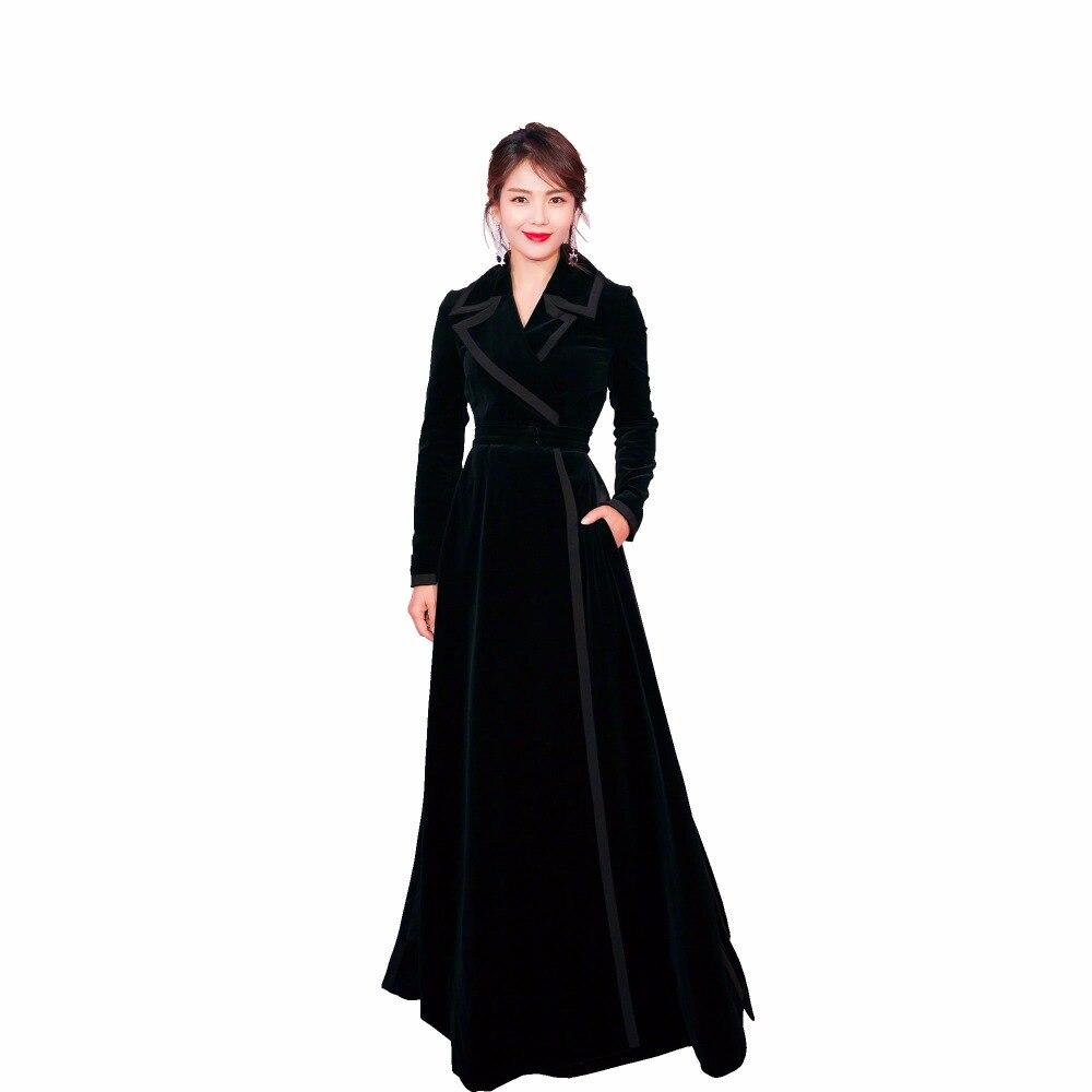 Down Automne Collar Outwerwear Jsxdhk Manches Manteau Turn Longues Velours Piste 2018 Trench Xl Slim Noir Hiver Long Femmes Designer FqqOxwBA