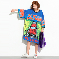 Women Novelty Casual Loose Dress Round Neck Cute California Cartoon Car Design Oversize Tee Dress Half Sleeve Dresses for Ladies