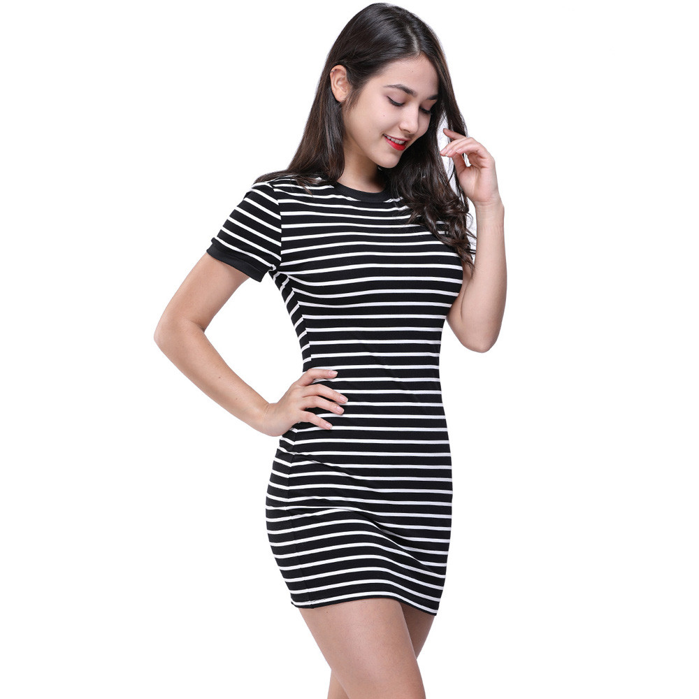 Fashion Women Fitted Bodycon Dresses Summer Short Sleeve O
