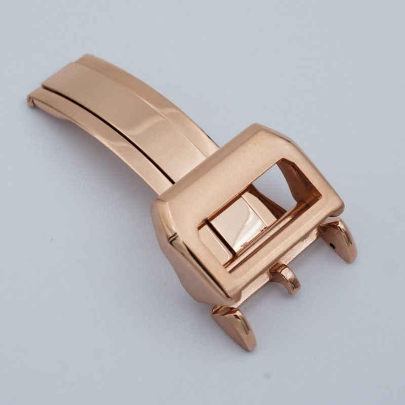 Maikes kualitas tinggi stainless steel lipat gesper 18mm kulit watch band strap butterfly gesper rose gold kasus untuk iwc