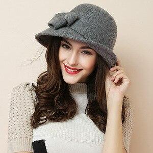 Image 2 - Kadın parti resmi şapkalar bayan kış moda asimetrik ilmek 100% yün keçe şapkalar