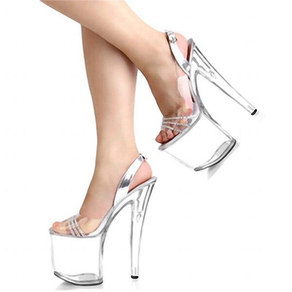Newest Rhinestone Sexy 20cm Super High Heel Platforms Pole Dance Crystal shoes clear fisherman sandals club heels