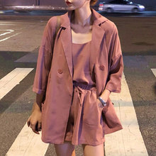 Fashion Three Pieces Suits Women Autumn Sexy Strap Tops And Elastic Waist Shorts Casual Wild Loose Blazer Plus Size Women Sets