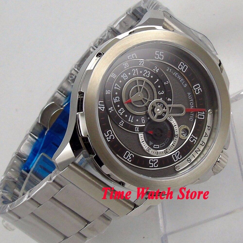 Vintage 44mm PARNIS sapphire glass วันที่ 24 ชั่วโมง 21 jewels การเคลื่อนไหวอัตโนมัติ MIYOTA นาฬิกาผู้ชาย 1075-ใน นาฬิกาข้อมือกลไก จาก นาฬิกาข้อมือ บน   2