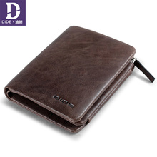 DIDE Vintage Wallet Male Genuine Leather Wallets For Teenager Zipper Coin Purse Clutch Wallet Card Holder Men Dropshipping dide new 100% genuine leather wallets for men purse vintage small wallet male card holder tri fold zipper coin purse dq595