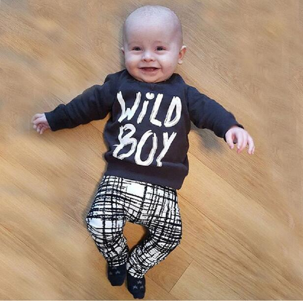 2018 Summer Cool Baby Boy Clothes Black Cotton Long Sleeve Letter T