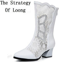 Spring Autumn Women Genuine Leather Lace Half Boots Cut Out Thick High Heels Lady Mid Calf